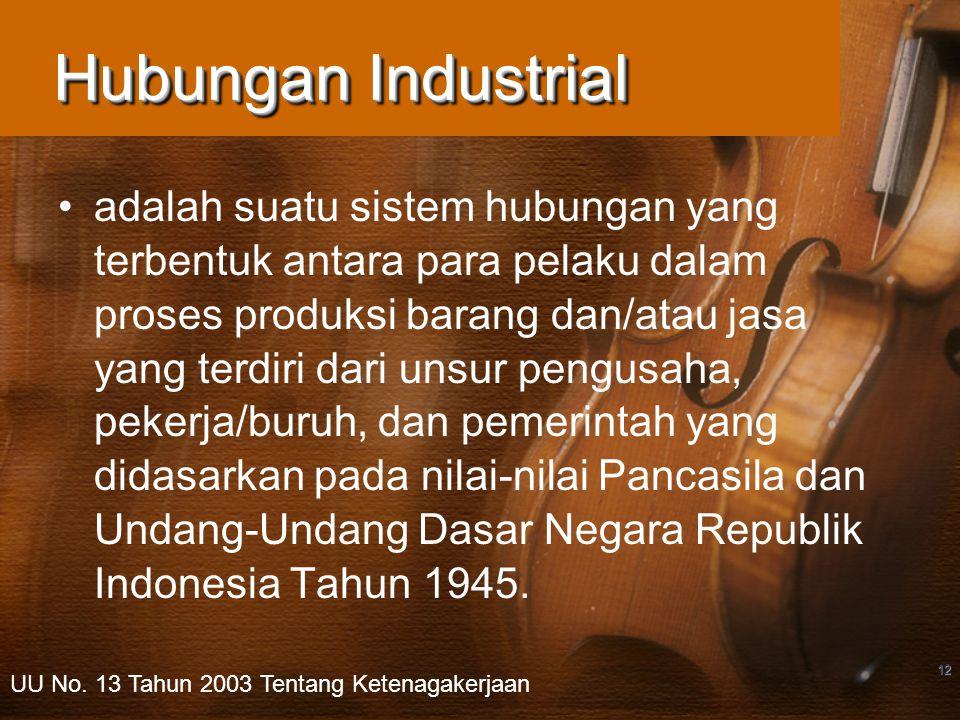 12 Hubungan Industrial adalah suatu sistem hubungan yang terbentuk antara para pelaku dalam proses produksi barang dan/atau jasa yang terdiri dari unsur pengusaha, pekerja/buruh, dan pemerintah yang didasarkan pada nilai-nilai Pancasila dan Undang-Undang Dasar Negara Republik Indonesia Tahun 1945.