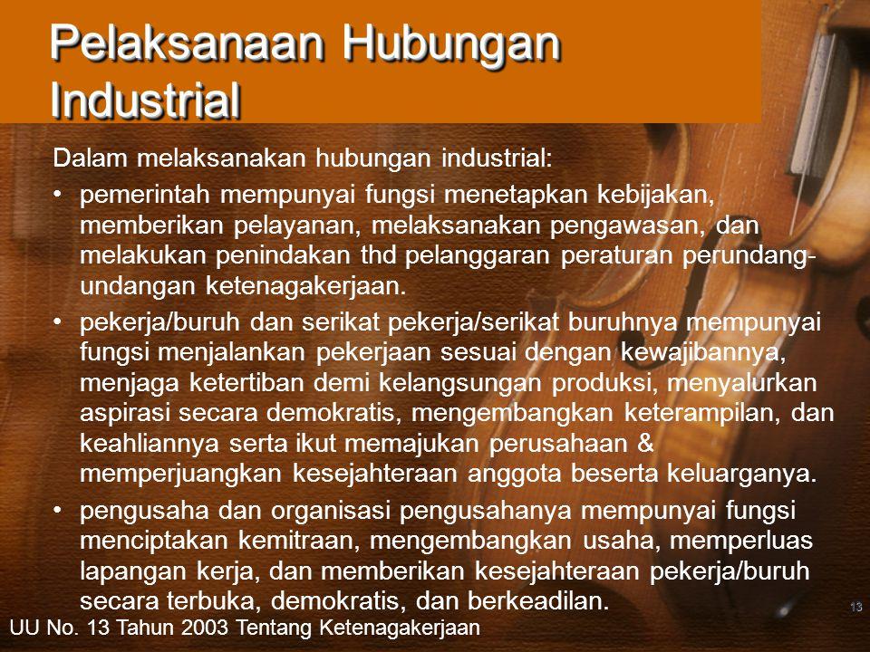 13 Pelaksanaan Hubungan Industrial Dalam melaksanakan hubungan industrial: pemerintah mempunyai fungsi menetapkan kebijakan, memberikan pelayanan, mel