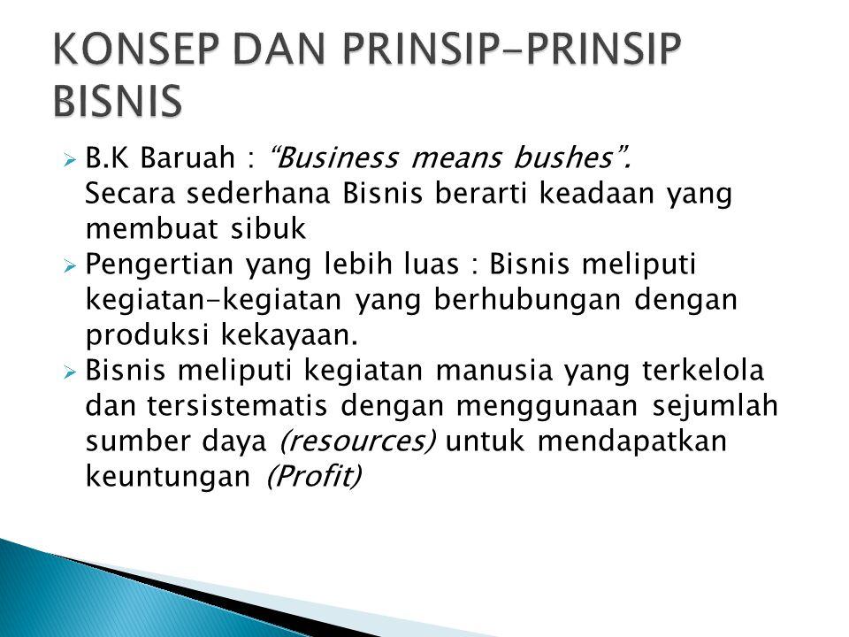 """ B.K Baruah : """"Business means bushes"""". Secara sederhana Bisnis berarti keadaan yang membuat sibuk  Pengertian yang lebih luas : Bisnis meliputi kegi"""