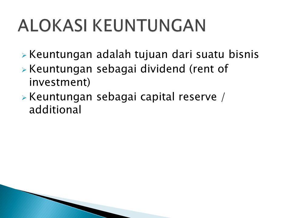  Keuntungan adalah tujuan dari suatu bisnis  Keuntungan sebagai dividend (rent of investment)  Keuntungan sebagai capital reserve / additional