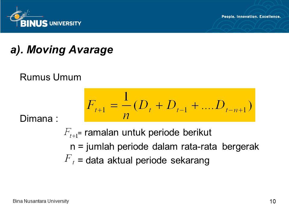 a). Moving Avarage Rumus Umum Dimana : = ramalan untuk periode berikut n = jumlah periode dalam rata-rata bergerak = data aktual periode sekarang Bina