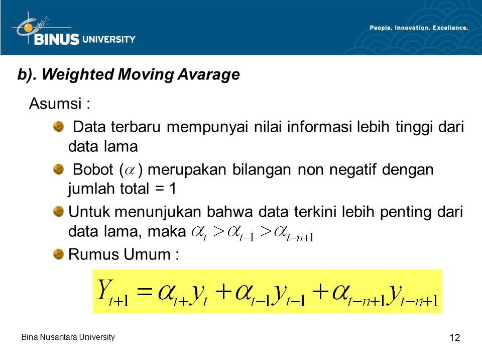 b). Weighted Moving Avarage Asumsi : Data terbaru mempunyai nilai informasi lebih tinggi dari data lama Bobot ( ) merupakan bilangan non negatif denga