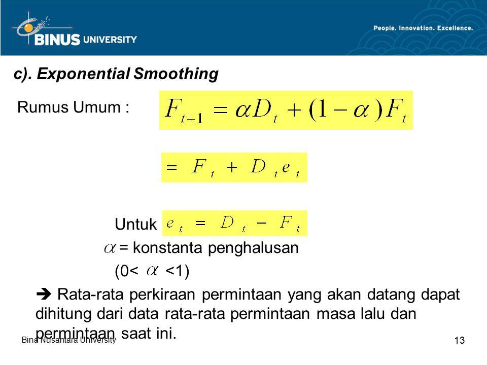 c). Exponential Smoothing Rumus Umum : Untuk = konstanta penghalusan (0< <1)  Rata-rata perkiraan permintaan yang akan datang dapat dihitung dari dat