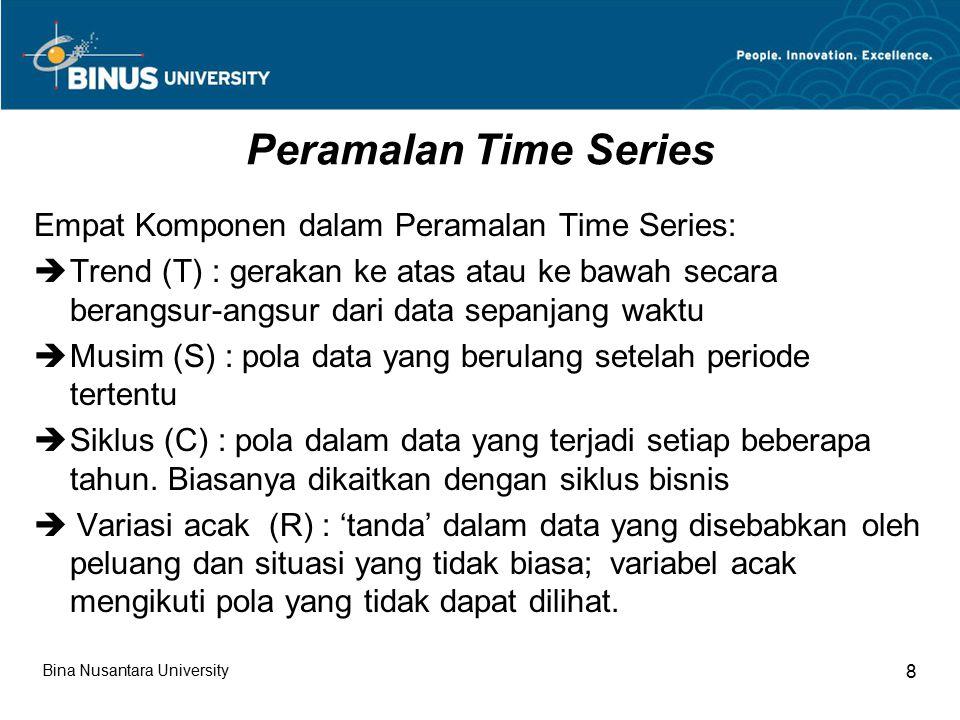 Peramalan Time Series Empat Komponen dalam Peramalan Time Series:  Trend (T) : gerakan ke atas atau ke bawah secara berangsur-angsur dari data sepanjang waktu  Musim (S) : pola data yang berulang setelah periode tertentu  Siklus (C) : pola dalam data yang terjadi setiap beberapa tahun.