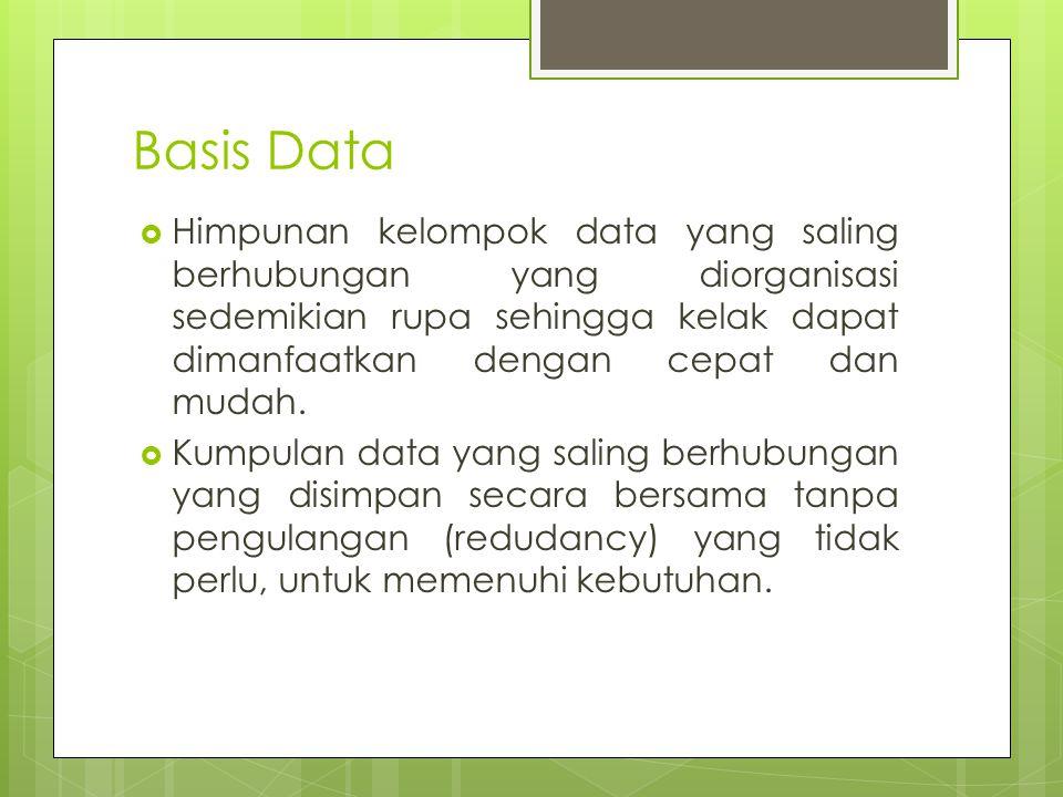  Himpunan kelompok data yang saling berhubungan yang diorganisasi sedemikian rupa sehingga kelak dapat dimanfaatkan dengan cepat dan mudah.