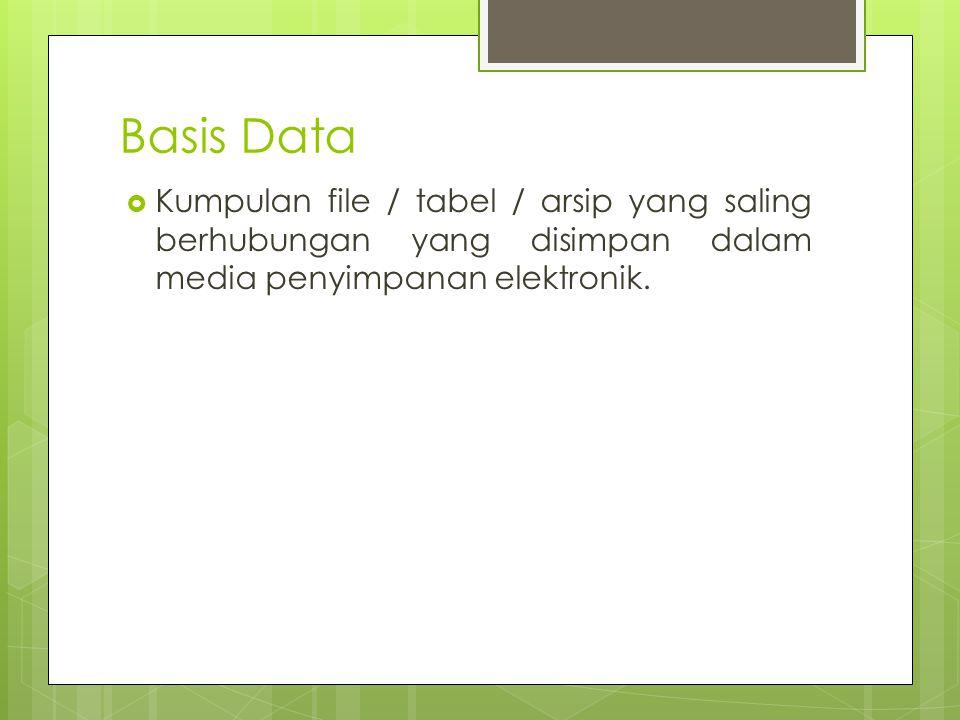 Basis Data  Kumpulan file / tabel / arsip yang saling berhubungan yang disimpan dalam media penyimpanan elektronik.