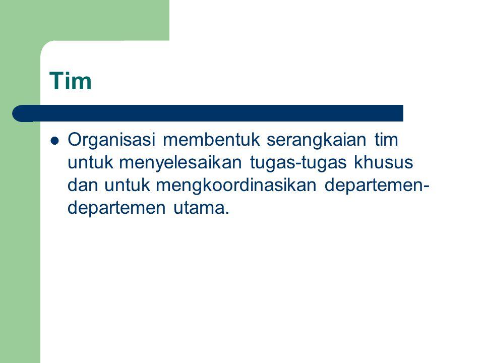 Tim Organisasi membentuk serangkaian tim untuk menyelesaikan tugas-tugas khusus dan untuk mengkoordinasikan departemen- departemen utama.