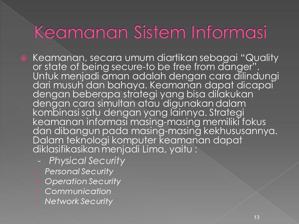  Keamanan, secara umum diartikan sebagai Quality or state of being secure-to be free from danger .