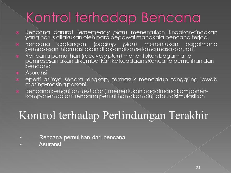  Rencana darurat (emergency plan) menentukan tindakan-tindakan yang harus dilakukan oleh para pegawai manakala bencana terjadi  Rencana cadangan (ba