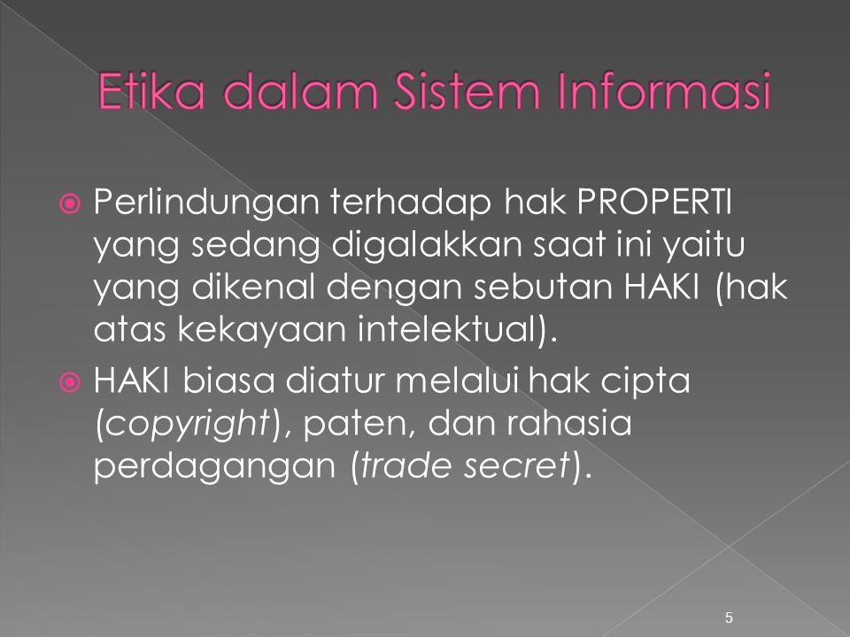  Perlindungan terhadap hak PROPERTI yang sedang digalakkan saat ini yaitu yang dikenal dengan sebutan HAKI (hak atas kekayaan intelektual).