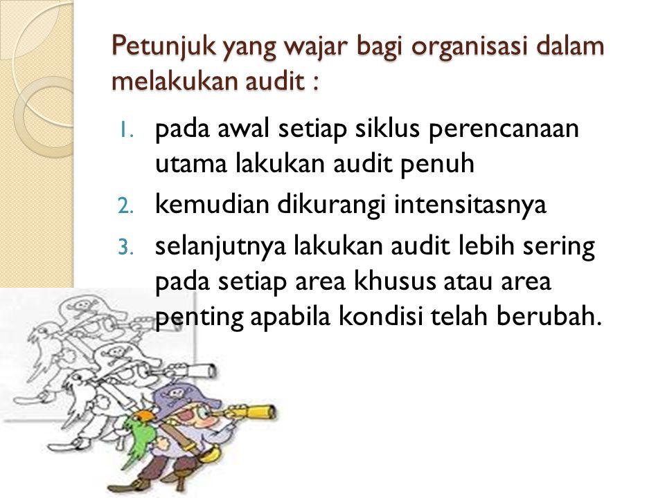 Petunjuk yang wajar bagi organisasi dalam melakukan audit : 1.