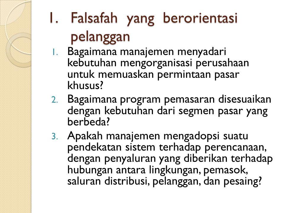 1.Falsafah yang berorientasi pelanggan 1.