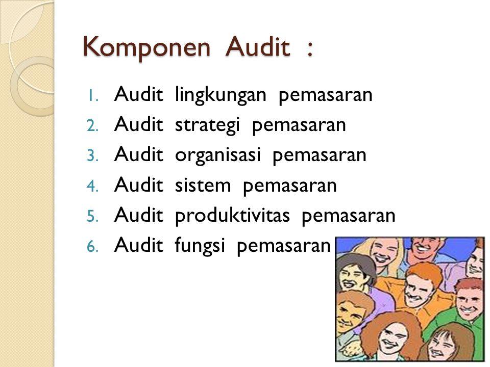 Komponen Audit : 1.Audit lingkungan pemasaran 2. Audit strategi pemasaran 3.