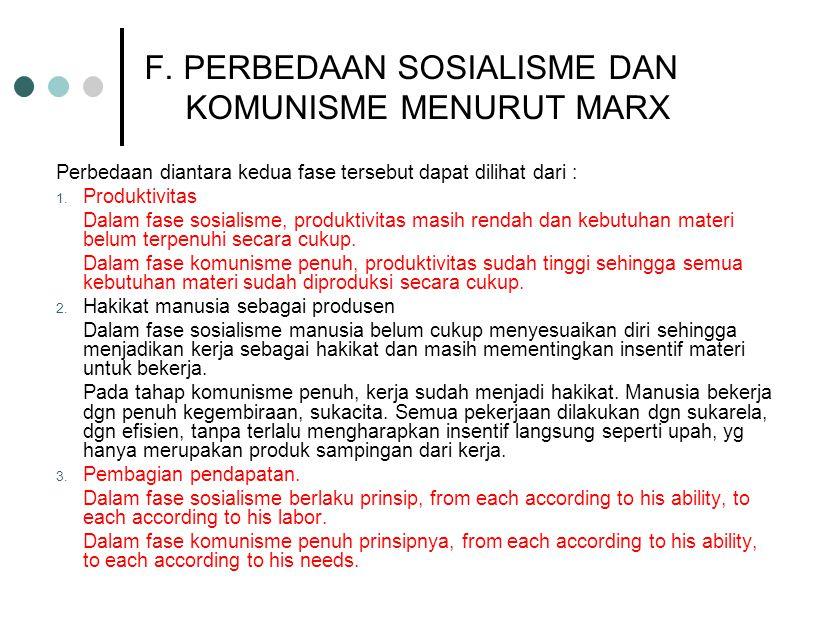 E. FASE-FASE PERKEMBANGAN MASYARAKAT Menurut Marx, semua kelompok masya- rakat akan mengalami fase-fase sbb : 1.Komunisme Primitif (suku) 2.Perbudakan