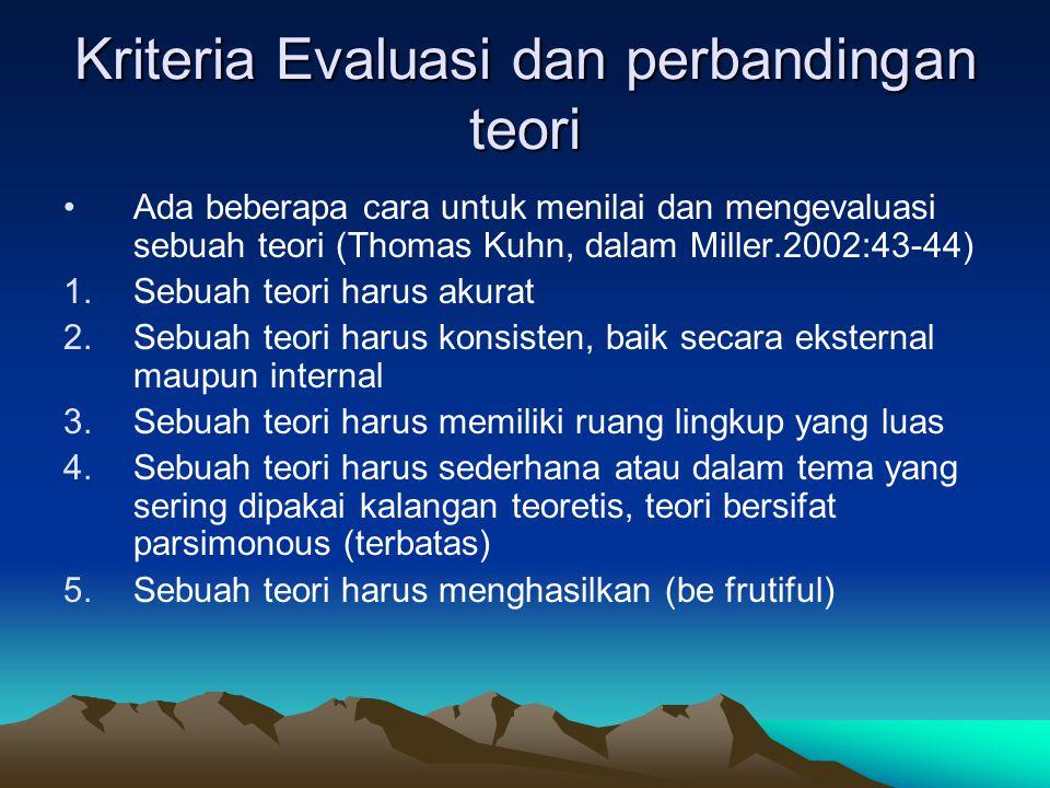 Kriteria Evaluasi dan perbandingan teori Ada beberapa cara untuk menilai dan mengevaluasi sebuah teori (Thomas Kuhn, dalam Miller.2002:43-44) 1.Sebuah