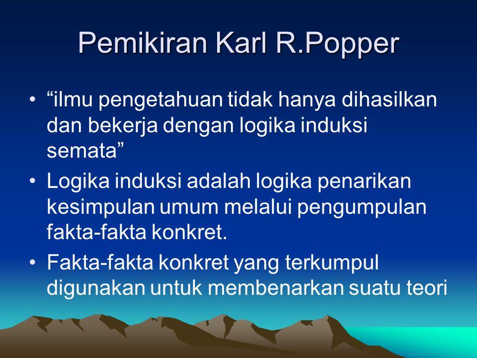 """Pemikiran Karl R.Popper """"ilmu pengetahuan tidak hanya dihasilkan dan bekerja dengan logika induksi semata"""" Logika induksi adalah logika penarikan kesi"""