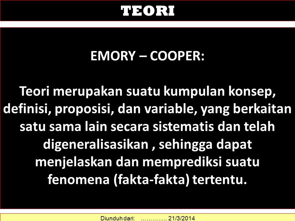 EMORY – COOPER: Teori merupakan suatu kumpulan konsep, definisi, proposisi, dan variable, yang berkaitan satu sama lain secara sistematis dan telah digeneralisasikan, sehingga dapat menjelaskan dan memprediksi suatu fenomena (fakta-fakta) tertentu.