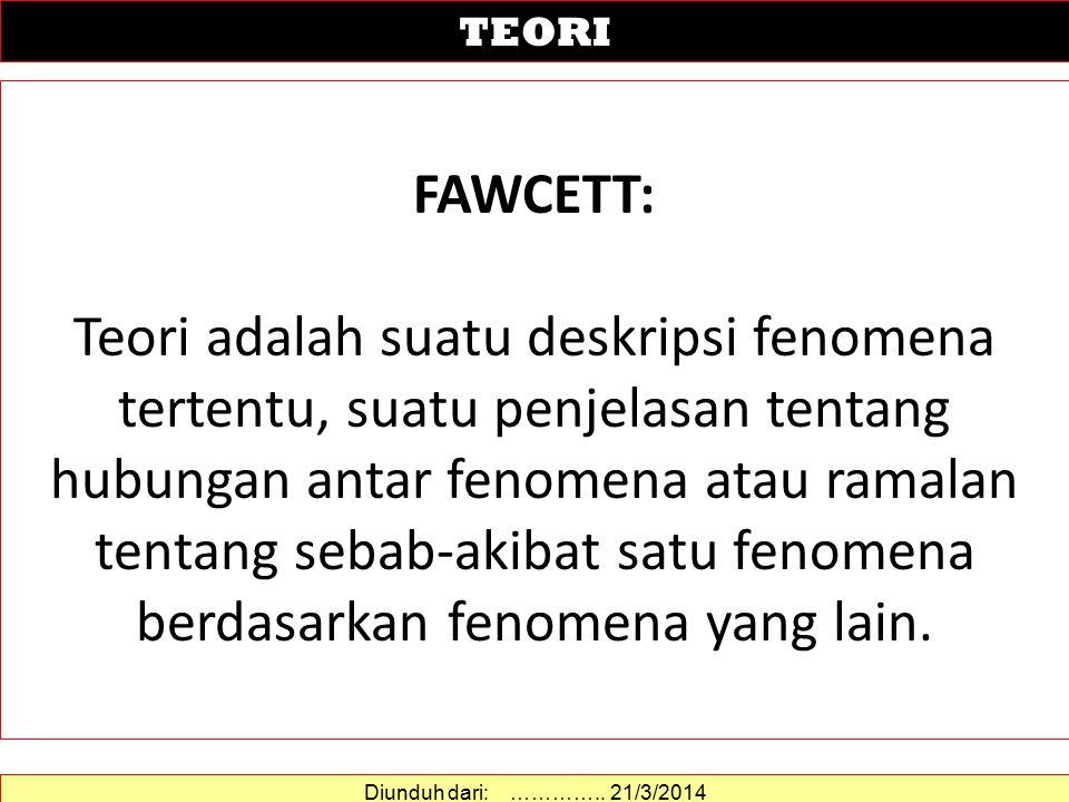FAWCETT: Teori adalah suatu deskripsi fenomena tertentu, suatu penjelasan tentang hubungan antar fenomena atau ramalan tentang sebab-akibat satu fenomena berdasarkan fenomena yang lain.