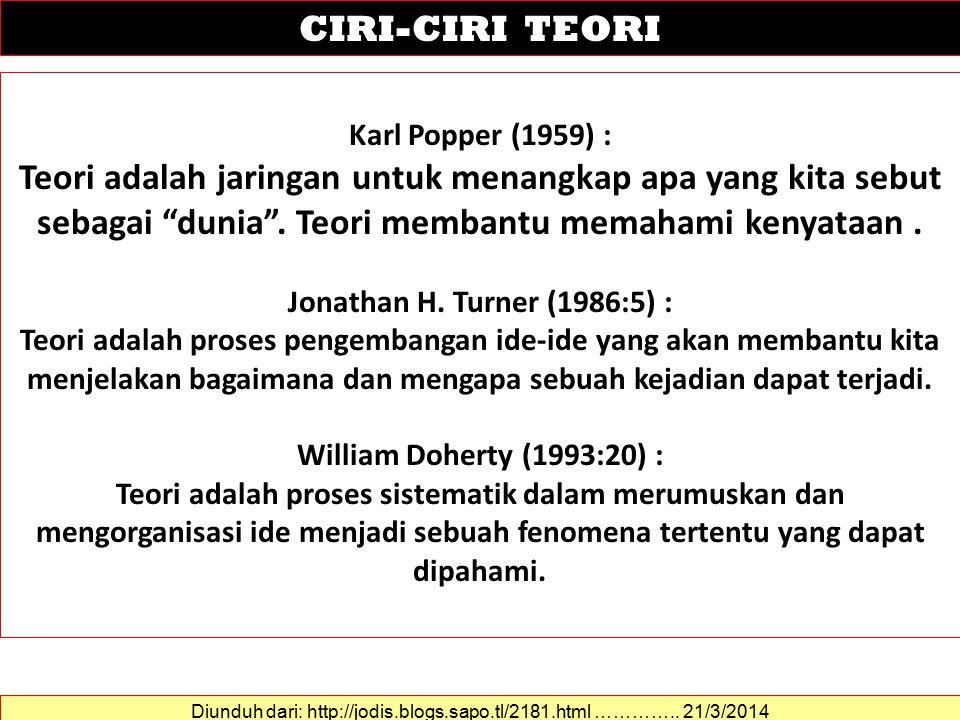 Karl Popper (1959) : Teori adalah jaringan untuk menangkap apa yang kita sebut sebagai dunia .