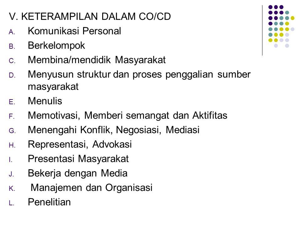 V. KETERAMPILAN DALAM CO/CD A. Komunikasi Personal B. Berkelompok C. Membina/mendidik Masyarakat D. Menyusun struktur dan proses penggalian sumber mas