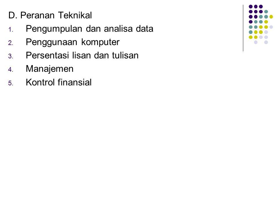 D. Peranan Teknikal 1. Pengumpulan dan analisa data 2. Penggunaan komputer 3. Persentasi lisan dan tulisan 4. Manajemen 5. Kontrol finansial