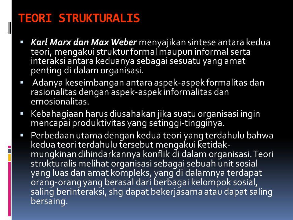 TEORI STRUKTURALIS  Karl Marx dan Max Weber menyajikan sintese antara kedua teori, mengakui struktur formal maupun informal serta interaksi antara ke