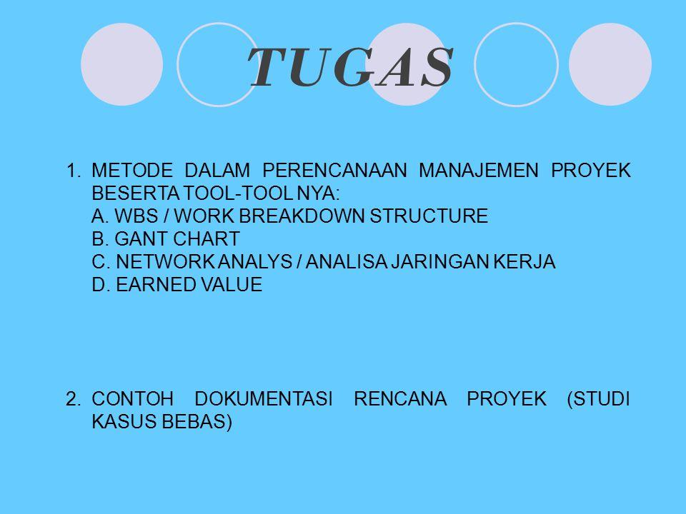 TUGAS 1.METODE DALAM PERENCANAAN MANAJEMEN PROYEK BESERTA TOOL-TOOL NYA: A. WBS / WORK BREAKDOWN STRUCTURE B. GANT CHART C. NETWORK ANALYS / ANALISA J