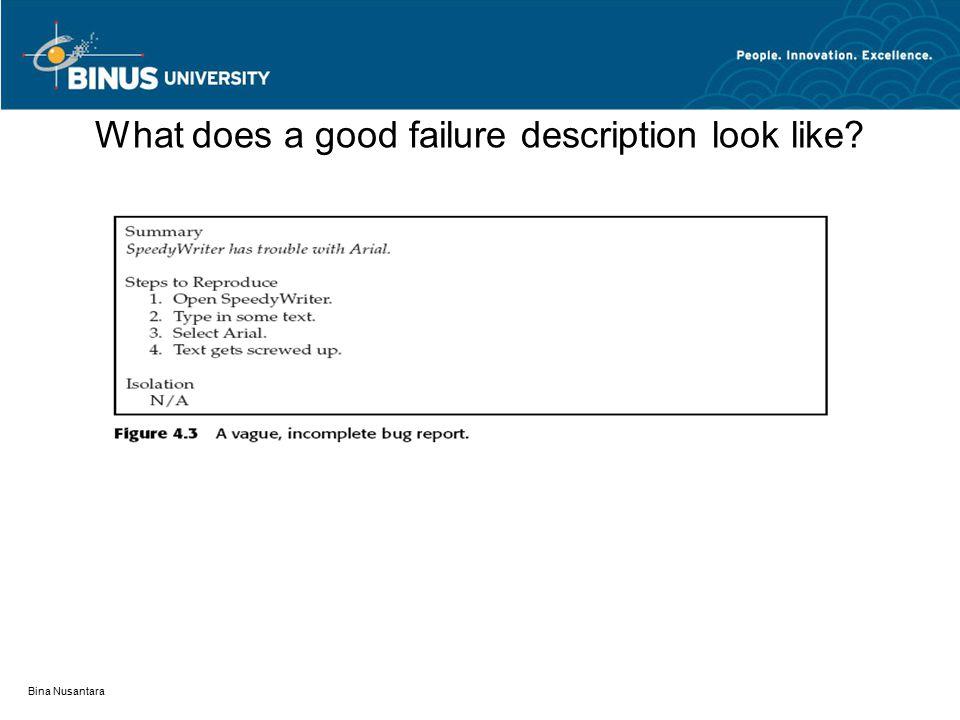 Bina Nusantara What does a good failure description look like?