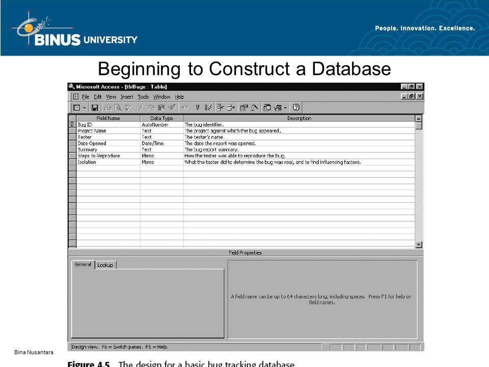 Bina Nusantara Beginning to Construct a Database
