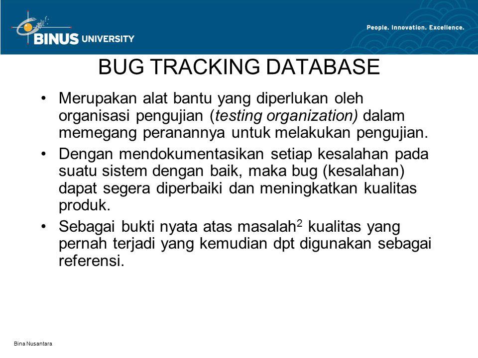 Bina Nusantara BUG TRACKING DATABASE Merupakan alat bantu yang diperlukan oleh organisasi pengujian (testing organization) dalam memegang peranannya u