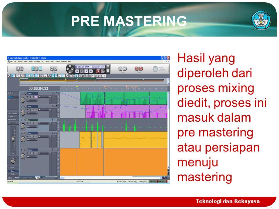 PRE MASTERING Teknologi dan Rekayasa Hasil yang diperoleh dari proses mixing diedit, proses ini masuk dalam pre mastering atau persiapan menuju mastering