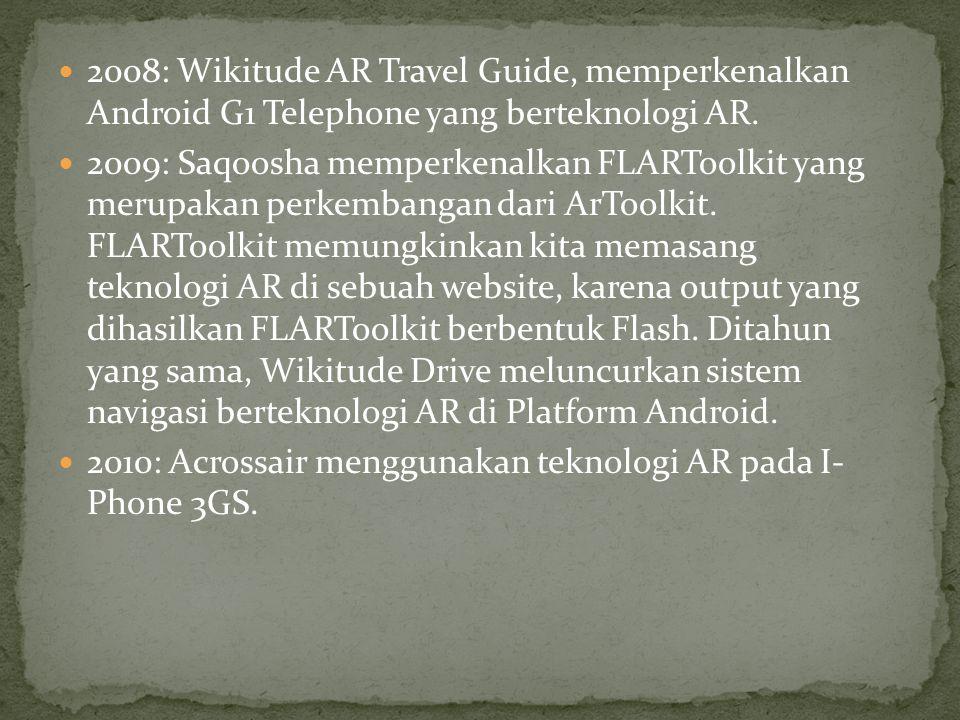 2008: Wikitude AR Travel Guide, memperkenalkan Android G1 Telephone yang berteknologi AR. 2009: Saqoosha memperkenalkan FLARToolkit yang merupakan per