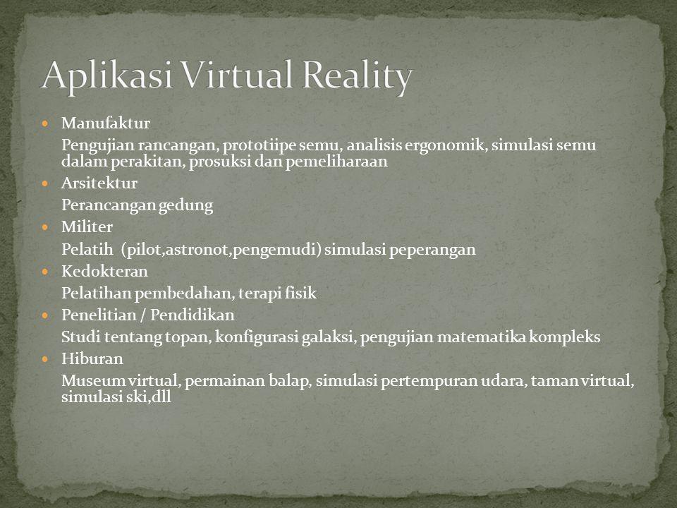 Di masa yang akan datang Virtual reality lebih menguntungkan di berbagai bidang karena menghemat uang, meningkatkan produktivitas, dan meningkatkan kesempatan proyek yang diselesaikan sepenuhnya fungsional, membantu memberikan perusahaan keunggulan komparatif