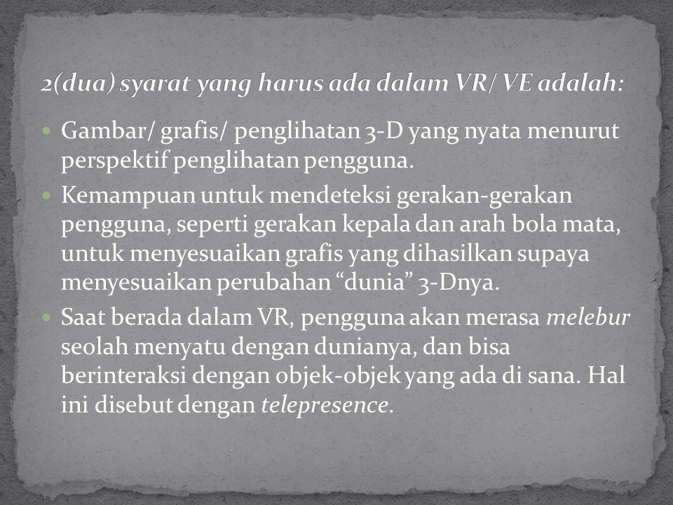 Gambar/ grafis/ penglihatan 3-D yang nyata menurut perspektif penglihatan pengguna. Kemampuan untuk mendeteksi gerakan-gerakan pengguna, seperti gerak