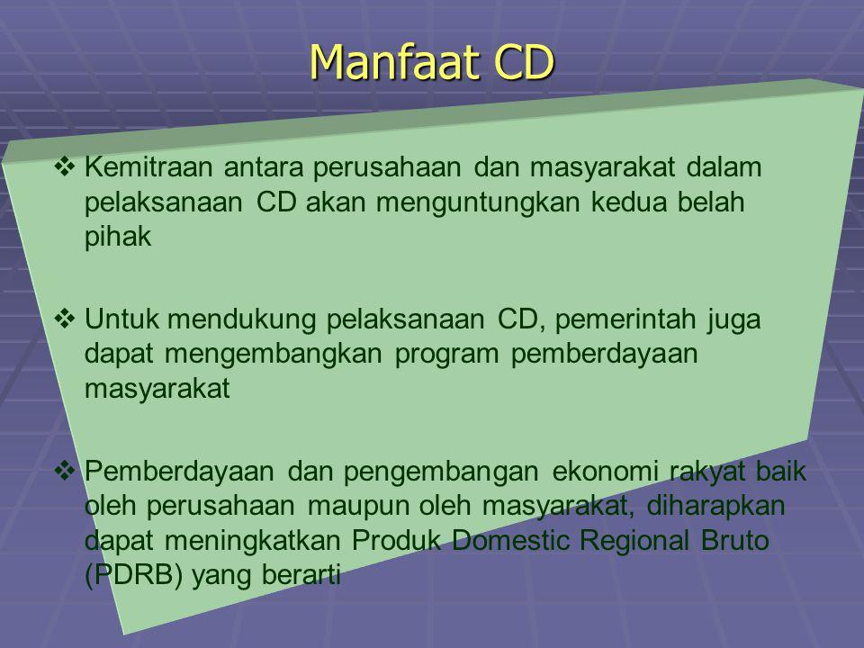 Manfaat CD   Kemitraan antara perusahaan dan masyarakat dalam pelaksanaan CD akan menguntungkan kedua belah pihak   Untuk mendukung pelaksanaan CD