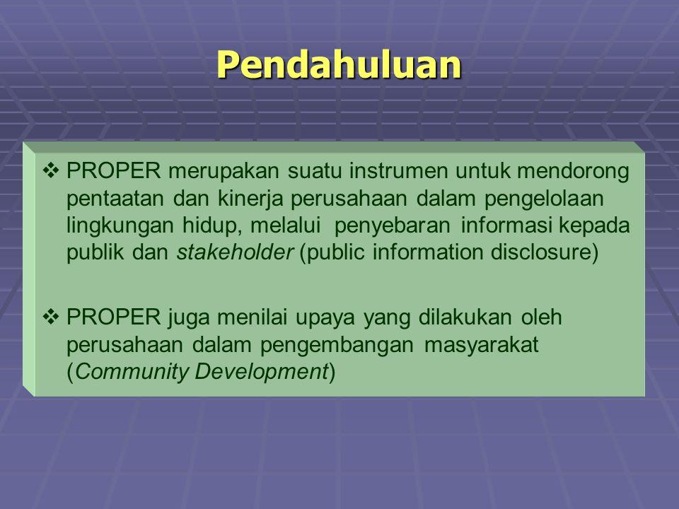 Pendahuluan   PROPER merupakan suatu instrumen untuk mendorong pentaatan dan kinerja perusahaan dalam pengelolaan lingkungan hidup, melalui penyebar