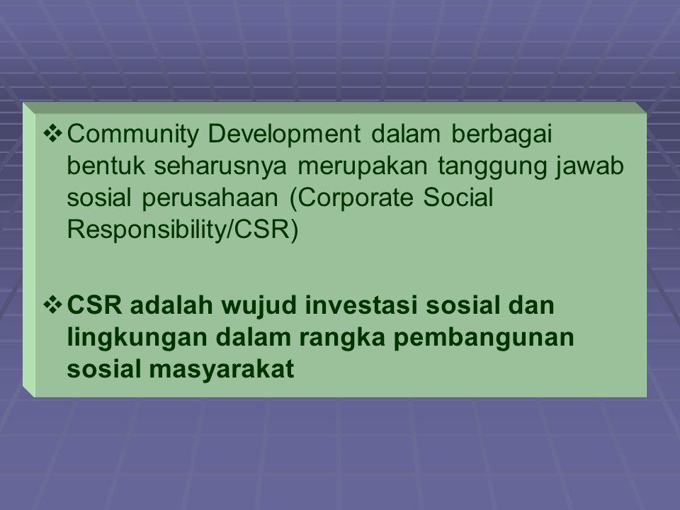   Community Development dalam berbagai bentuk seharusnya merupakan tanggung jawab sosial perusahaan (Corporate Social Responsibility/CSR)   CSR ad