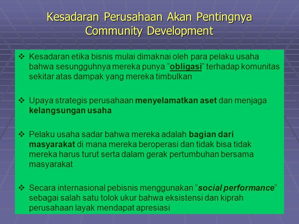 Pengertian CD   Community Development adalah kegiatan pengembangan masyarakat oleh perusahaan yang diarahkan untuk memperbesar akses masyarakat untuk mencapai kondisi sosial, ekonomi dan budaya yang lebih baik apabila dibandingkan dengan kondisi sebelumnya   Community development merupakan bagian dari Corporate Social Responsibility (CSR)