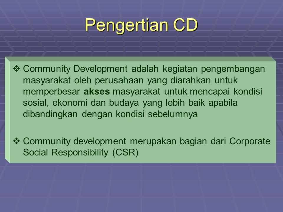 Pengertian CD   Community Development adalah kegiatan pengembangan masyarakat oleh perusahaan yang diarahkan untuk memperbesar akses masyarakat untu