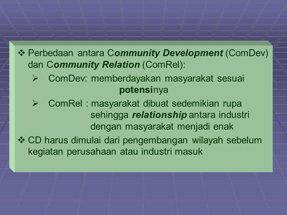   Perbedaan antara Community Development (ComDev) dan Community Relation (ComRel):   ComDev: memberdayakan masyarakat sesuai potensinya   ComRel