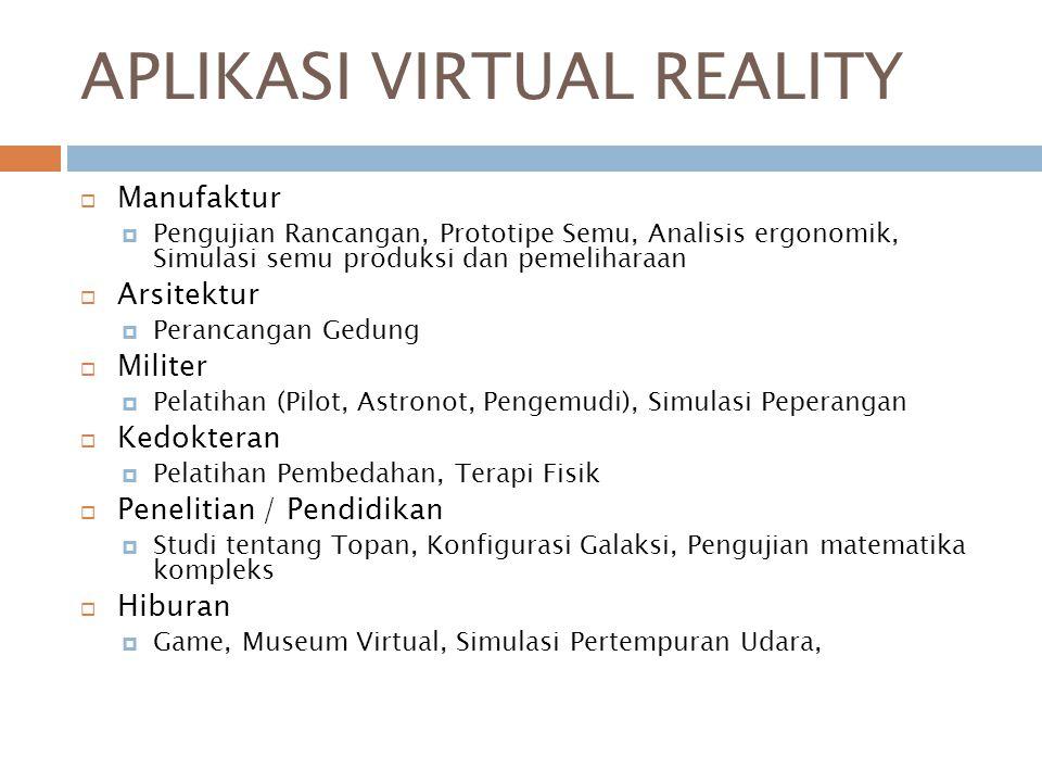 APLIKASI VIRTUAL REALITY  Manufaktur  Pengujian Rancangan, Prototipe Semu, Analisis ergonomik, Simulasi semu produksi dan pemeliharaan  Arsitektur  Perancangan Gedung  Militer  Pelatihan (Pilot, Astronot, Pengemudi), Simulasi Peperangan  Kedokteran  Pelatihan Pembedahan, Terapi Fisik  Penelitian / Pendidikan  Studi tentang Topan, Konfigurasi Galaksi, Pengujian matematika kompleks  Hiburan  Game, Museum Virtual, Simulasi Pertempuran Udara,