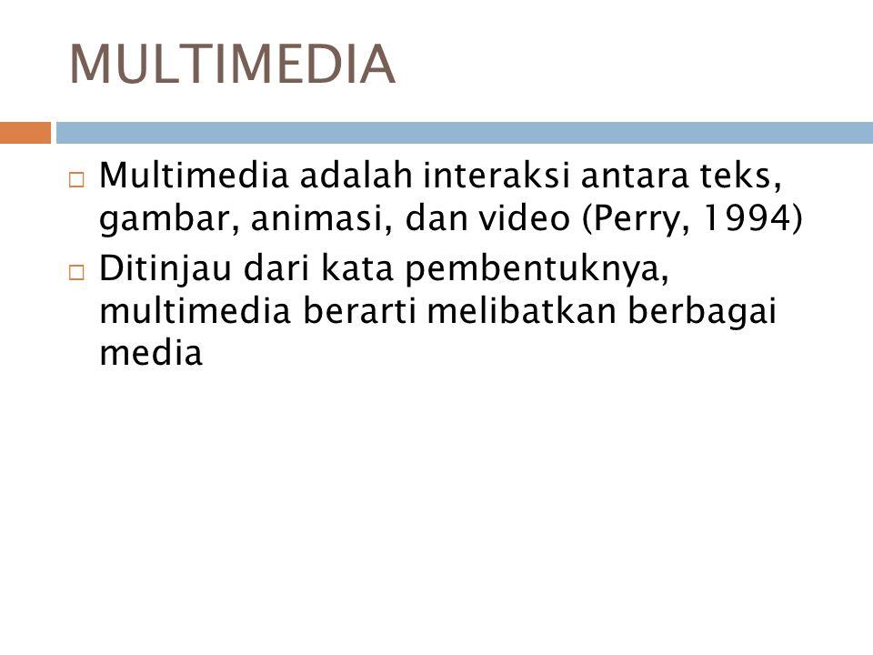 MULTIMEDIA  Multimedia adalah interaksi antara teks, gambar, animasi, dan video (Perry, 1994)  Ditinjau dari kata pembentuknya, multimedia berarti melibatkan berbagai media