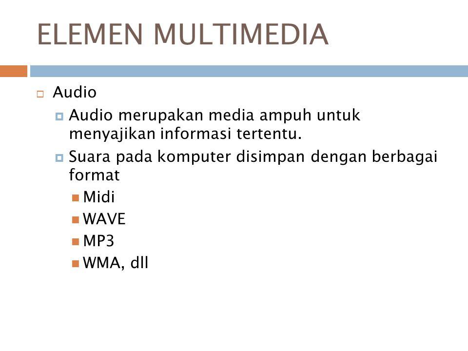ELEMEN MULTIMEDIA  Gambar Berbagai format penyimpanan gambar digital antara lain:  BMP  CDR  GIF  JPG  PNG  TIFF  PCX