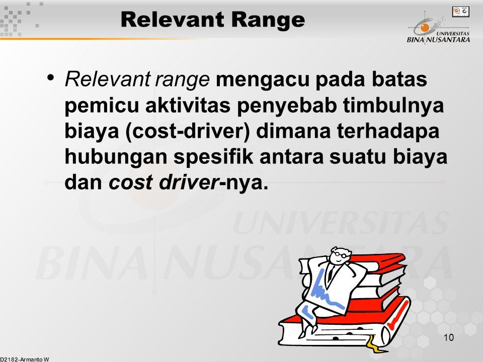 D2182-Armanto W 10 Relevant Range Relevant range mengacu pada batas pemicu aktivitas penyebab timbulnya biaya (cost-driver) dimana terhadapa hubungan spesifik antara suatu biaya dan cost driver-nya.