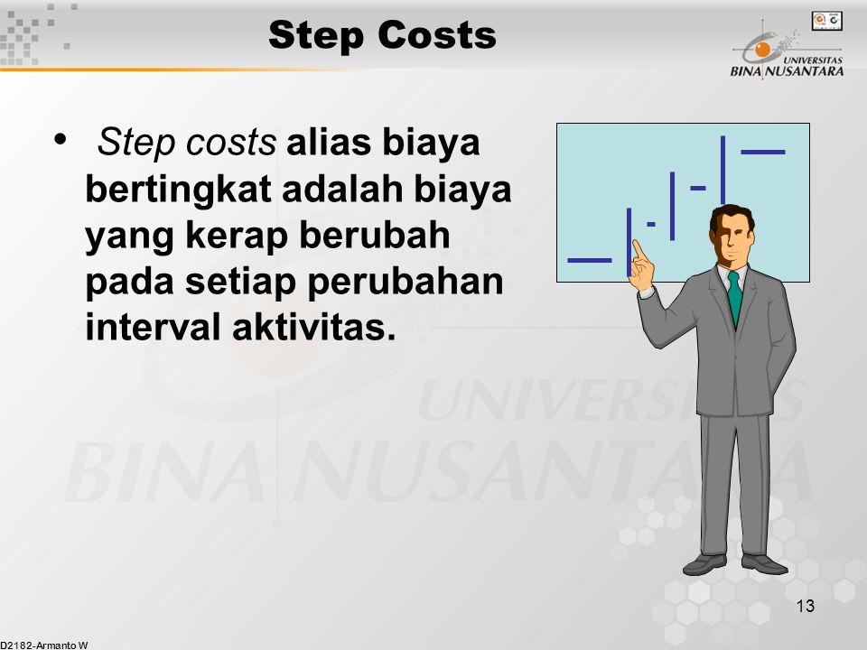 D2182-Armanto W 13 Step Costs Step costs alias biaya bertingkat adalah biaya yang kerap berubah pada setiap perubahan interval aktivitas.