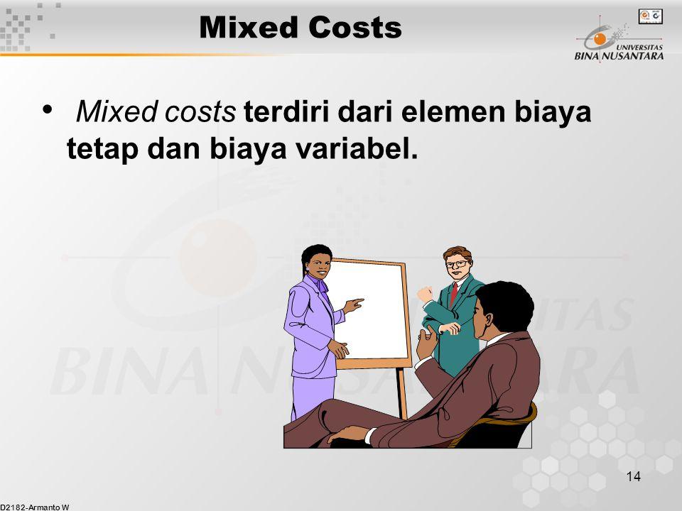 D2182-Armanto W 14 Mixed Costs Mixed costs terdiri dari elemen biaya tetap dan biaya variabel.