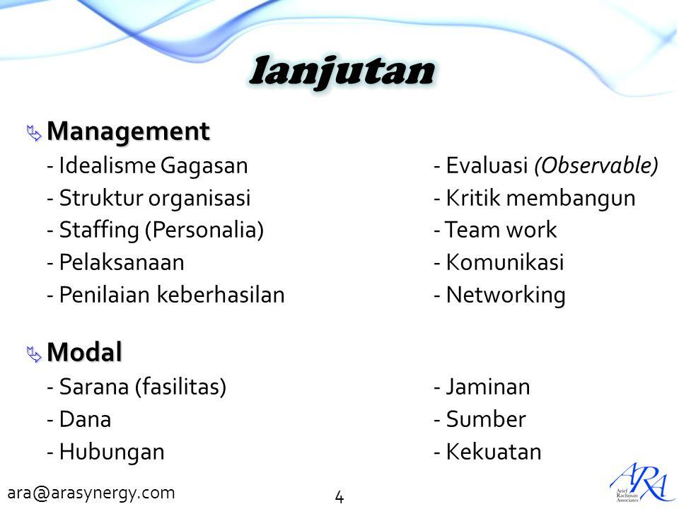 ara@arasynergy.com  Management - Idealisme Gagasan- Evaluasi (Observable) - Struktur organisasi- Kritik membangun - Staffing (Personalia)- Team work