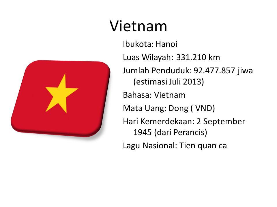 Vietnam Ibukota: Hanoi Luas Wilayah: 331.210 km Jumlah Penduduk: 92.477.857 jiwa (estimasi Juli 2013) Bahasa: Vietnam Mata Uang: Dong ( VND) Hari Kemerdekaan: 2 September 1945 (dari Perancis) Lagu Nasional: Tien quan ca