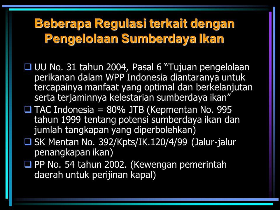 """Beberapa Regulasi terkait dengan Pengelolaan Sumberdaya Ikan  UU No. 31 tahun 2004, Pasal 6 """"Tujuan pengelolaan perikanan dalam WPP Indonesia diantar"""