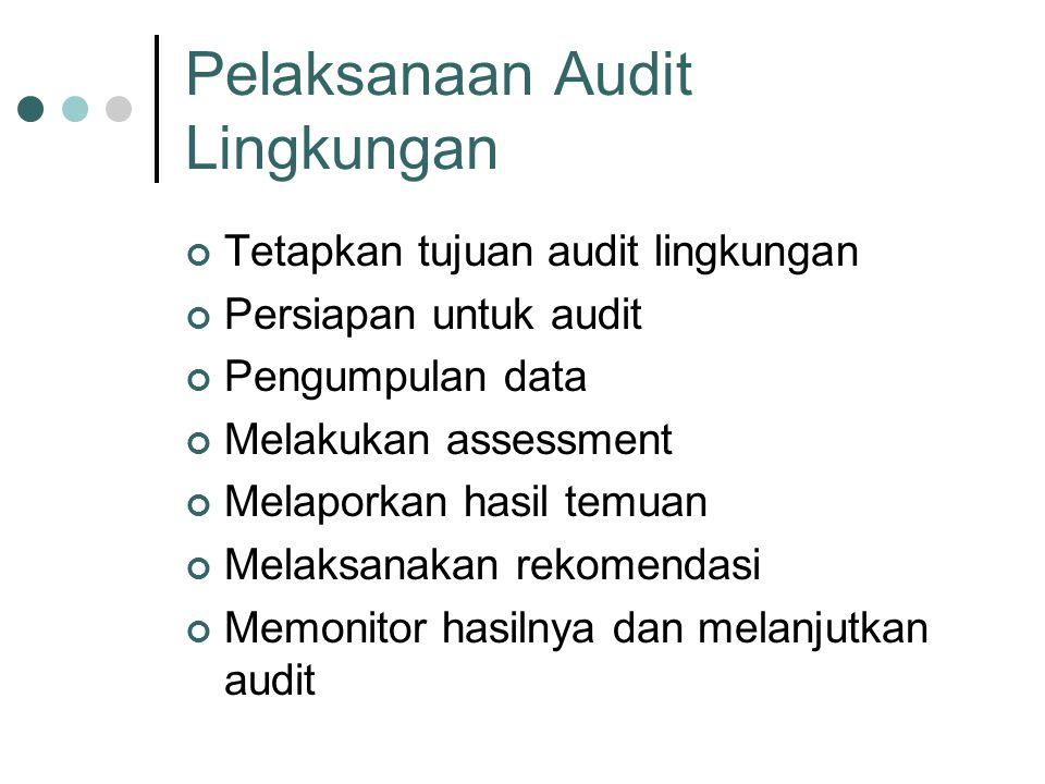Pelaksanaan Audit Lingkungan Tetapkan tujuan audit lingkungan Persiapan untuk audit Pengumpulan data Melakukan assessment Melaporkan hasil temuan Melaksanakan rekomendasi Memonitor hasilnya dan melanjutkan audit